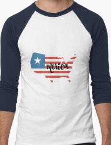Merica  Men's Baseball ¾ T-Shirt