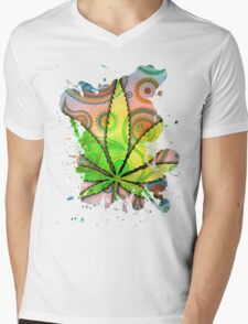 Pot Leaf Mens V-Neck T-Shirt