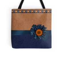 False Knitted Effect Sunkiss Tote Bag With In Blue And Biscuit Tote Bag