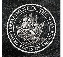 Department Of The Navy Emblem Polished Granite Photographic Print