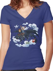 Dragon Riders Ver 2 Women's Fitted V-Neck T-Shirt