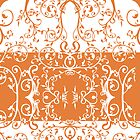Orange and white swirl flourish summer Tote Bag by Moonlake