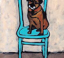 Fergus On A Blue Chair by Anna Davies