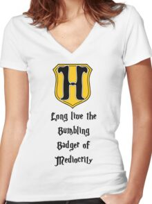 Long Live the Bumbling Badger... Women's Fitted V-Neck T-Shirt