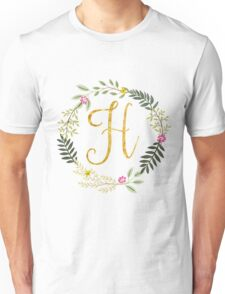 Floral and Gold Initial Monogram H Unisex T-Shirt