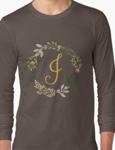 Floral and Gold Initial Monogram I Long Sleeve T-Shirt