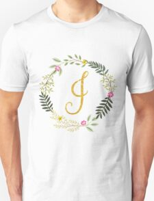 Floral and Gold Initial Monogram I Unisex T-Shirt