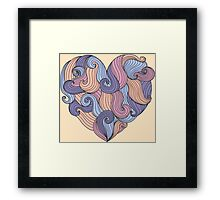 Cute colorful doodle heart Framed Print