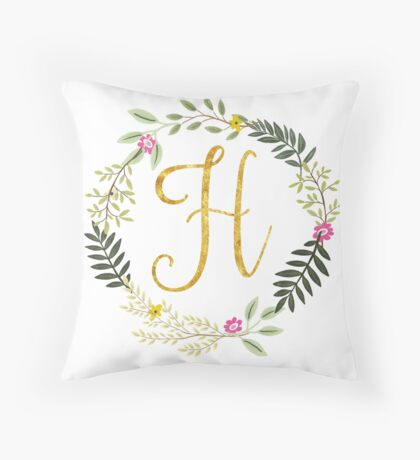 Floral and Gold Initial Monogram H Throw Pillow