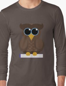 Owl Sitting on a Book Long Sleeve T-Shirt