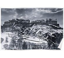 Edinburgh Castle in winter clothing Poster