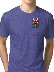 8-Bit Mario Pocket Piranha Plant Tri-blend T-Shirt
