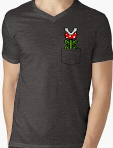 8-Bit Mario Pocket Piranha Plant Mens V-Neck T-Shirt