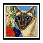 Siamese Cat With Bush Flowers by amanda metalcat