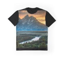 Sunset On Grand Teton And Snake River Graphic T-Shirt