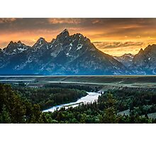Sunset On Grand Teton And Snake River Photographic Print