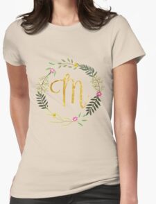 Floral and Gold Initial Monogram M Womens Fitted T-Shirt