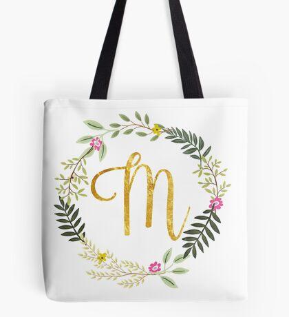 Floral and Gold Initial Monogram M Tote Bag