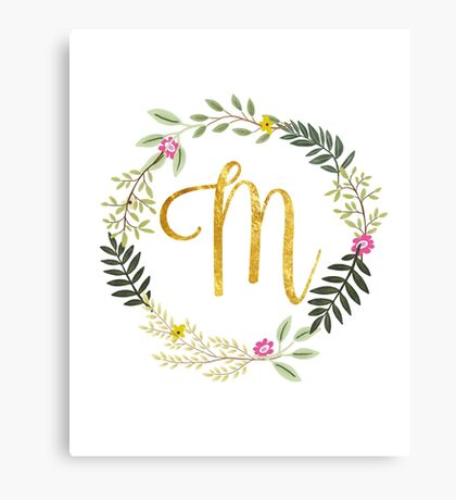 Floral and Gold Initial Monogram M Canvas Print