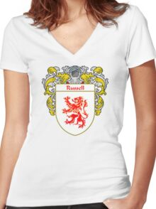 Russell Coat of Arms / Russell Family Crest Women's Fitted V-Neck T-Shirt