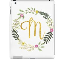 Floral and Gold Initial Monogram M iPad Case/Skin