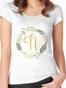 Floral and Gold Initial Monogram N Women's Fitted Scoop T-Shirt