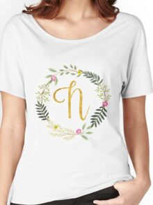 Floral and Gold Initial Monogram N Women's Relaxed Fit T-Shirt