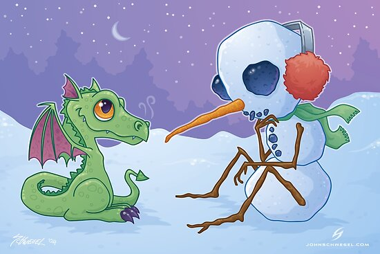 Snowman and Dragon by fizzgig