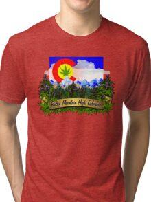 Rocky Mountain High Colorado Flag Cannabis Marijuana Herb Tri-blend T-Shirt