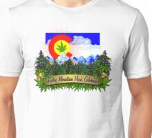 Rocky Mountain High Colorado Flag Cannabis Marijuana Herb Unisex T-Shirt
