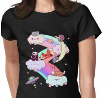 Rainbow Clouds and Animals Womens Fitted T-Shirt