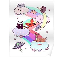 Rainbow Clouds and Animals Poster