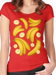 Banana Fruity Pattern  Women's Fitted Scoop T-Shirt