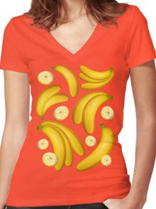 Banana Fruity Pattern  Women's Fitted V-Neck T-Shirt