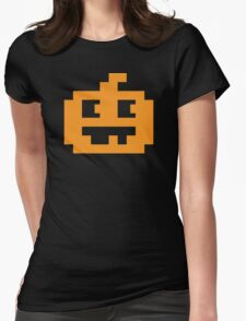 8 Bit Pixel Jack O' Lantern Pumpkin Head Womens Fitted T-Shirt