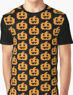 8 Bit Pixel Jack O' Lantern Pumpkin Head Graphic T-Shirt