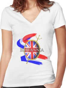 Rule Britannia Union Jack British Themed Graphic Women's Fitted V-Neck T-Shirt