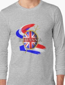 Rule Britannia Union Jack British Themed Graphic Long Sleeve T-Shirt