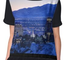 Utah Capitol and Oquirrh Mountains Winter Sunset Chiffon Top