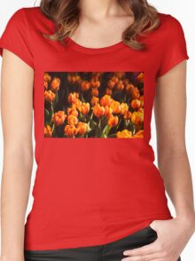 Impressions of Gardens - Flame Colored Tulip Abundance Women's Fitted Scoop T-Shirt