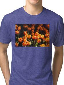 Impressions of Gardens - Flame Colored Tulip Abundance Tri-blend T-Shirt