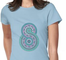Creative mandala with elephants, birds, leaves, flowers Womens Fitted T-Shirt