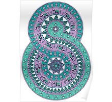 Creative mandala with elephants, birds, leaves, flowers Poster