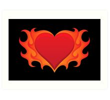 Burning heart with flames, red hot love Art Print