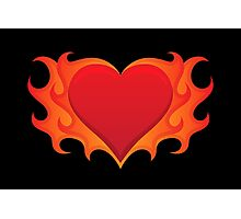 Burning heart with flames, red hot love Photographic Print