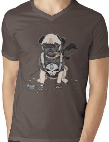 Pug Punisher Army Mens V-Neck T-Shirt
