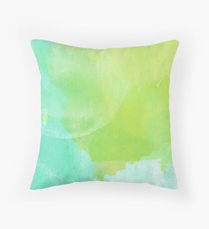 Green and Blue Watercolor Throw Pillow