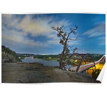 Austin Texas Images - The 360 Bridge and the Austin Skyline Under a Full Moon 3 Poster