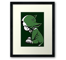 Bull Terrier Green  Framed Print