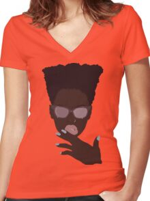 Face Beat Women's Fitted V-Neck T-Shirt